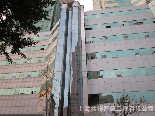 青岛海运大厦菱形观光电梯井道-电梯钢结构井道观光